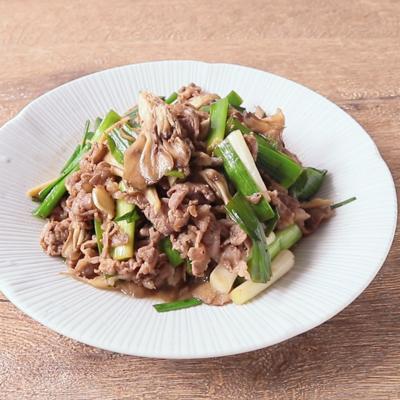 葉ニンニクと牛肉のバタポン炒め