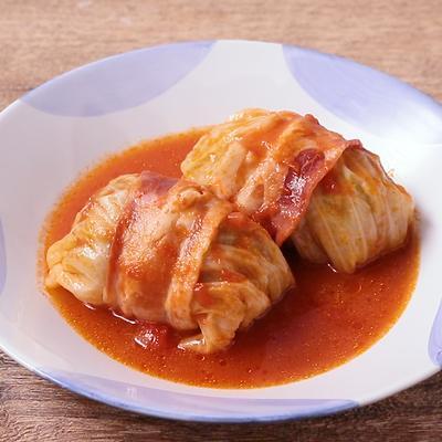 圧力鍋でとろとろトマト味ロールキャベツ