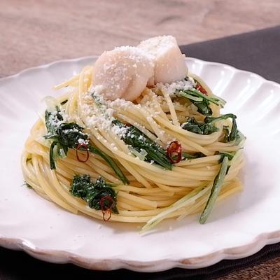 ホタテと水菜のペペロンチーノ