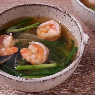 エビとニラの中華スープ