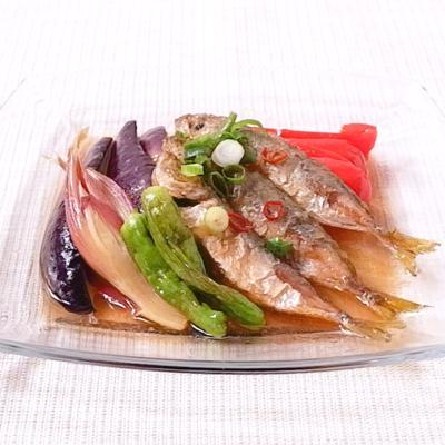 夏野菜と豆アジの南蛮漬け