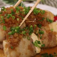 豆腐の肉巻き\n生姜ソース添え