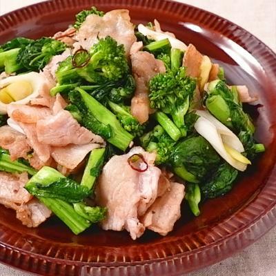 菜の花と豚バラ肉のガーリック炒め