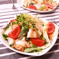 サラダで満足!揚げチキンのボリュームサラダ
