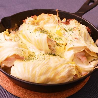 キャベツと豚バラ肉のチーズ焼き