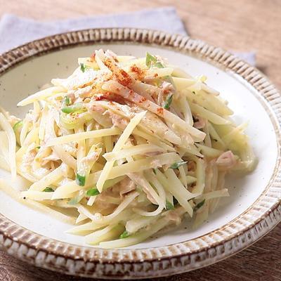 シャキシャキポテトのツナきゅうりサラダ