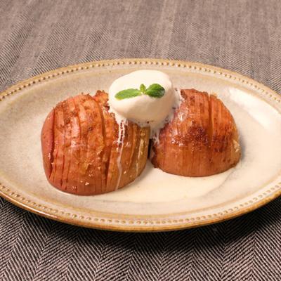 トースターで簡単 りんごのハッセルバック