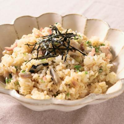 香味野菜たっぷりの焼きサバ混ぜご飯