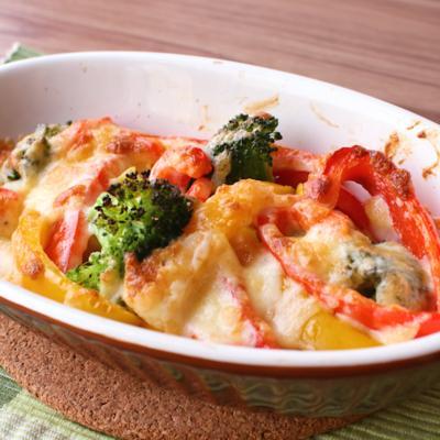 パプリカとブロッコリーのチーズ焼き