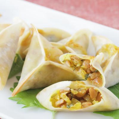 ポリポリ美味しい たくあんと納豆のおつまみ餃子