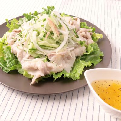 豚バラと香味野菜のゆずドレッシングサラダ