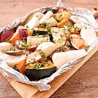 オーブンでみそ風味の和風焼き野菜