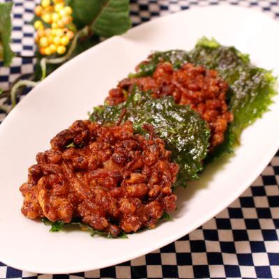 サクサクおいしい納豆とさきいかの天ぷら
