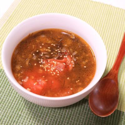 簡単!サッパリ!もずくとトマトの中華風スープ