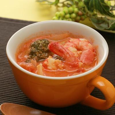 エビとブロッコリーのトマトクリームスープ