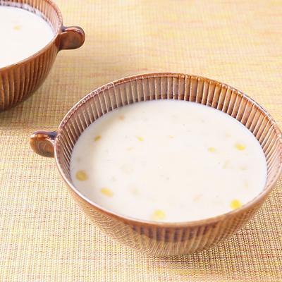 甘酒とそばの実のコーンクリームスープ