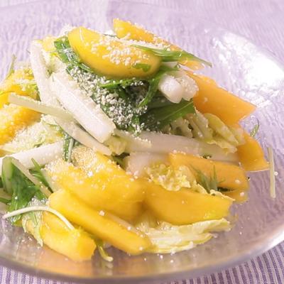 オレンジ風味 柿と白菜のドレッシングサラダ