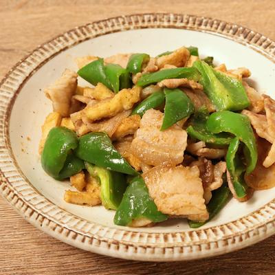 豚バラ肉とピーマンの山椒味噌炒め