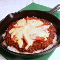 トマトとチーズの焼きキーマカレー