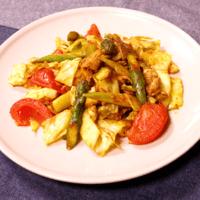 野菜たっぷり豚バラカレー炒め