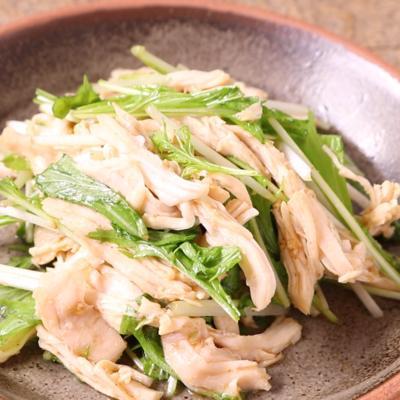 水菜と鶏むね肉のすりごま中華和え