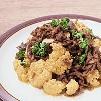 牛肉とカリフラワーのカレーマヨ炒め
