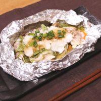 水菜と豚薄切り肉のホイル包み焼き