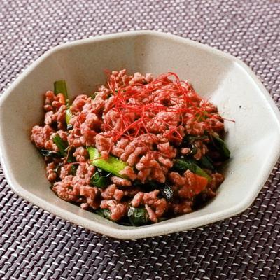 ニラとひき肉の中華風味噌炒め