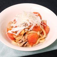 豚肉と焼きトマトの甘辛うどん