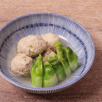 鶏団子とつぼみ菜の炊き合わせ