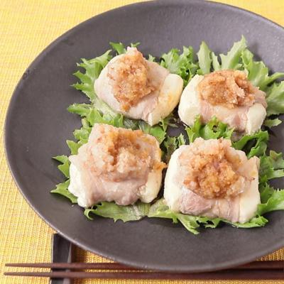レンジで簡単 梅肉豚巻き豆腐