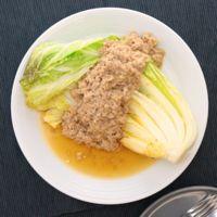 蒸し焼き白菜の肉味噌がけ