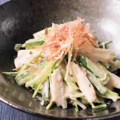 長いもと水菜の梅マヨネーズ和え