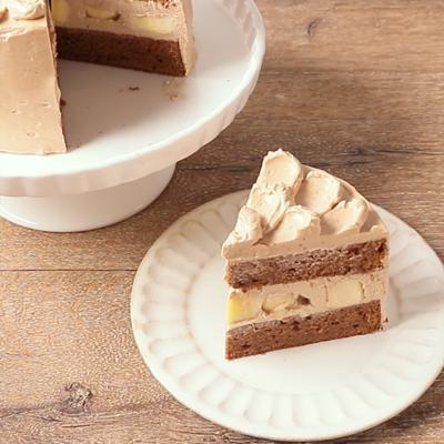 バタークリームのチョコバナナケーキ