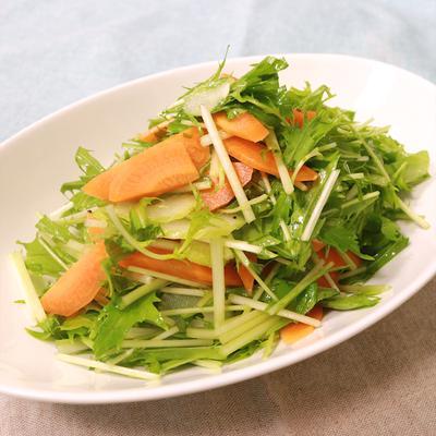 簡単水菜とセロリにんじんの生野菜サラダ