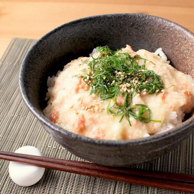 鮭フレークの味噌とろろ丼