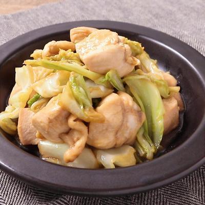 鶏肉とキャベツのわさびじょうゆ炒め
