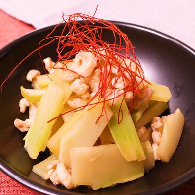 鶏皮とブロッコリーの茎のポン酢和え