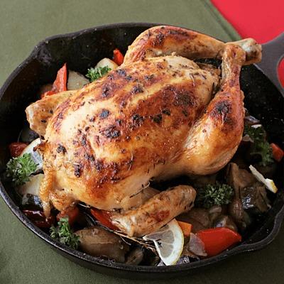 丸鶏でクリスマスローストチキン