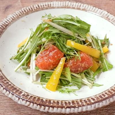 水菜とサーモンのニンニクごま和え