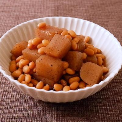 こんにゃくと大豆の甘辛煮