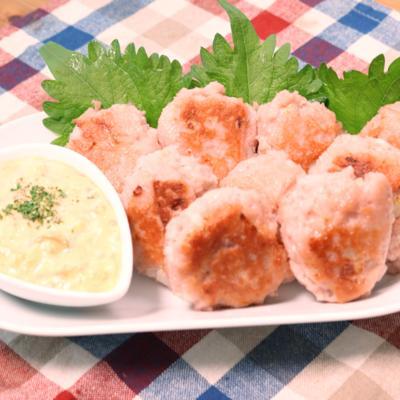 とろーり魚肉ソーセージのミニハンバーグ 梅タルタルソース
