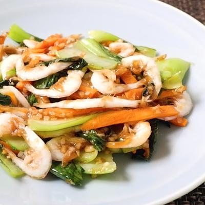 白エビとチンゲン菜の中華風炒め