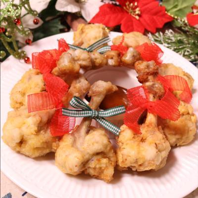 片手で食べやすい!チューリップ型クリスマスチキン