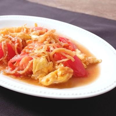 中華くらげとトマトの卵炒め