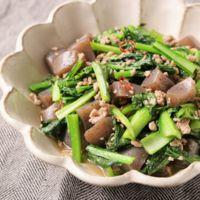 豚ひき肉と小松菜のピリ辛炒め