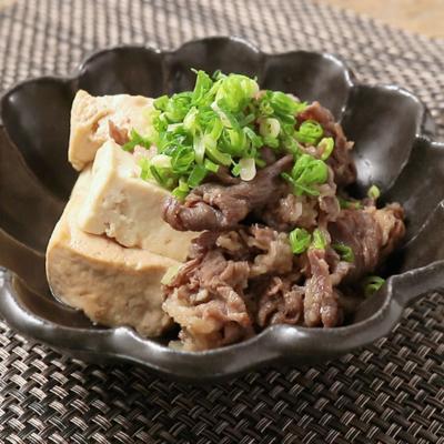 レンジで手軽に 牛こま肉と豆腐のすき焼き風
