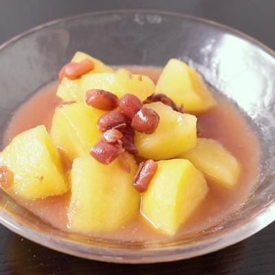 甘くておいしい小豆煮りんご