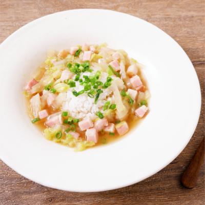 白菜とベーコンの和風スープかけごはん