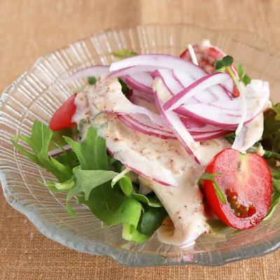 手作りごまドレでカラフルサラダ